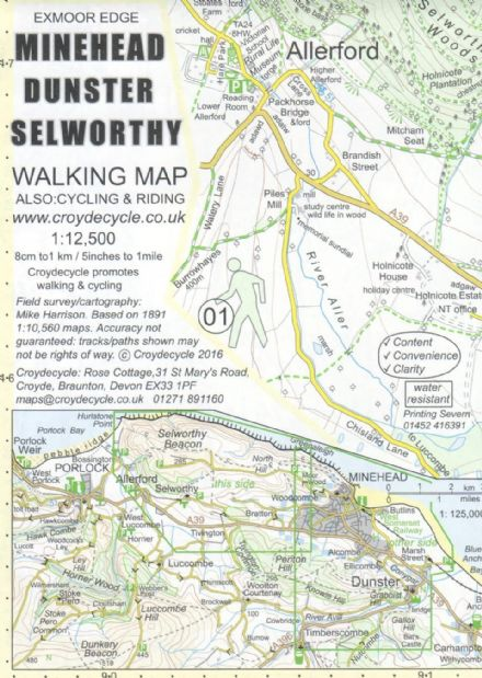 Minehead  Dunster & Selworthy Map